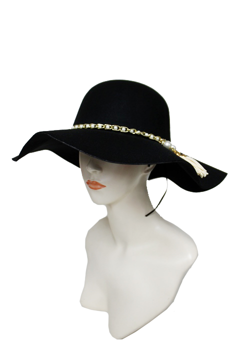 Floppy with Faux Pearl Suede Tassel Design soft Hat