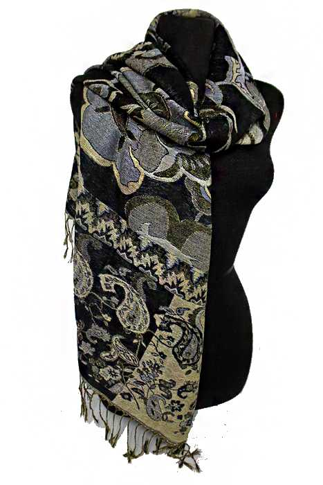 Daisy and Paisley Pattern Gold Metallic Thread Silky Pashimina Shawls Scarf
