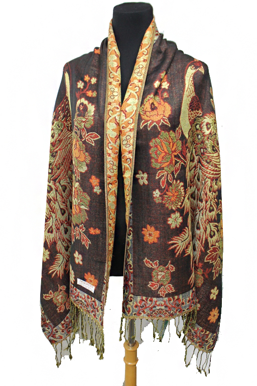Luxurious Gold Threaded Exotic Peacock Pashminas