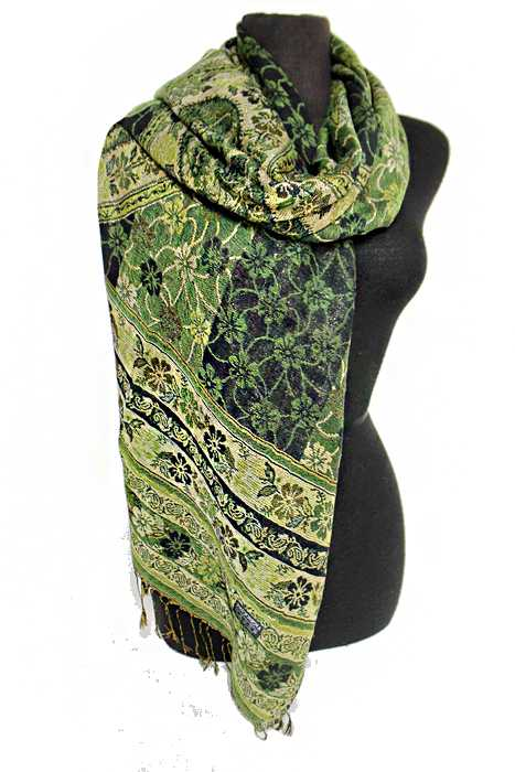 Big Paisley pattern Gold Metallic Thread Silky Pashimina Shawls Scarf