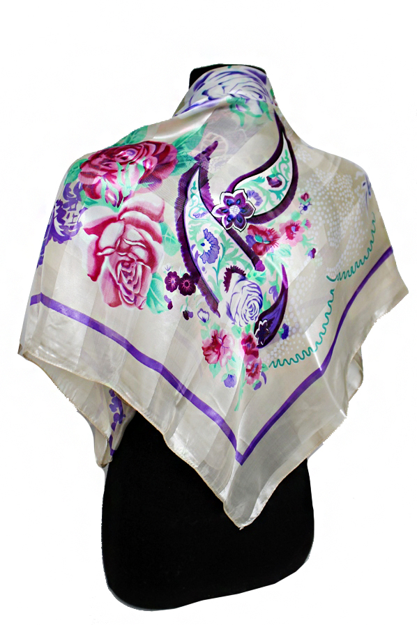 Rose and Paisley Chiffon Silk printed Hanky Scarves