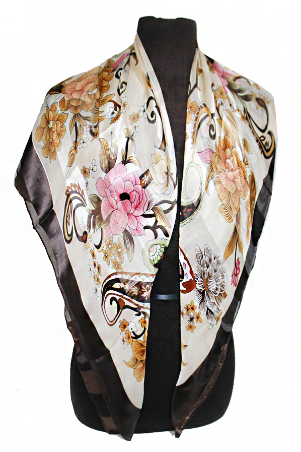 Abstract seamless flower and Paisley Chiffon Silk printed Hanky Scarves