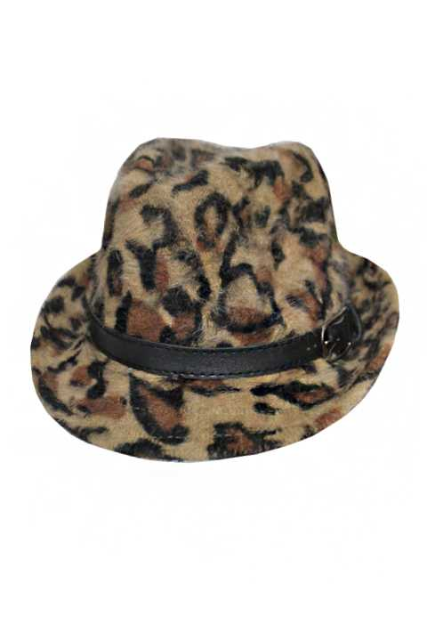 Animal print Angora Feel Super Soft Fashion Fedoras with Belt