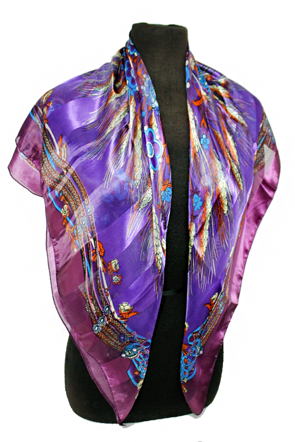 Natural and Flower Chiffon Silk printed Hanky Scarves