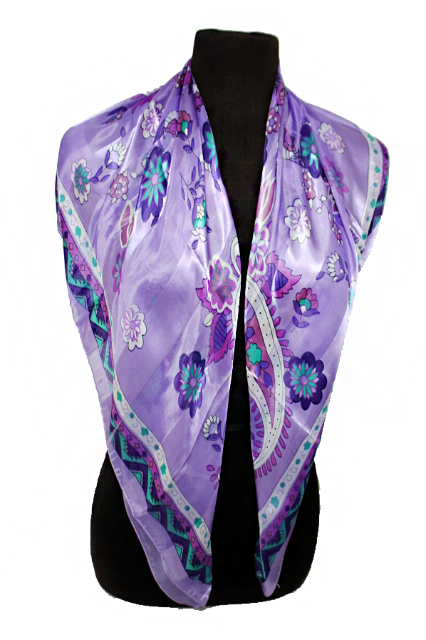 Paisley and  Flower Chiffon Silk printed Hanky Scarves