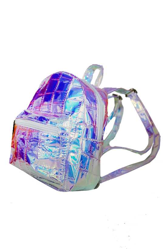 Shimmery Iridescent Crocodile Textured Mini Back Pack