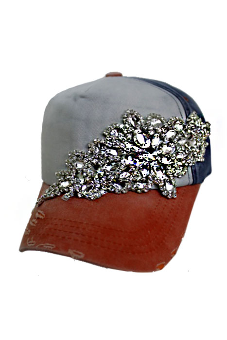 Gunmetal Colored Clear Crystal Floral Design Three Tone Pigment Washed Distressed 5 Panel Strap Back
