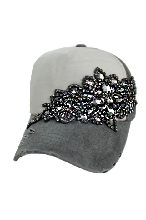 Gunmetal Colored Black Crystal Floral Design Two Tone Pigment Washed Distressed 5 Panel Strap Back