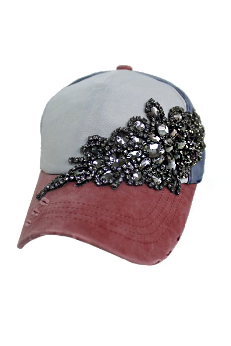 Gunmetal Colored Black Crystal Floral Design Three Tone Pigment Washed Distressed 5 Panel Strap Back