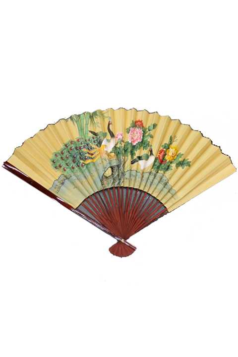 Over Sized Oriental Furniture Gold Leaf Landscape Fan Wall Sign