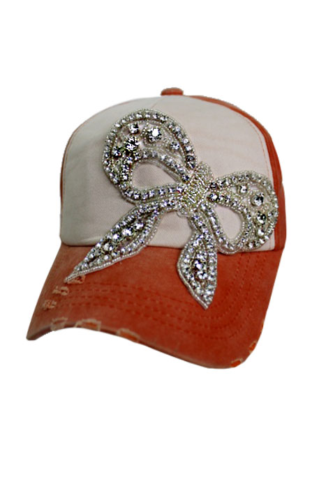 Bow Ribbon Gunmetal Colored Crystal Design  Two Tone Pigment Washed Distressed 5 Panel Strap Back