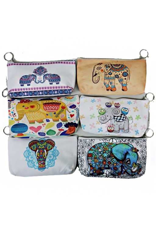 Flat Pouch Elephant Design Bag