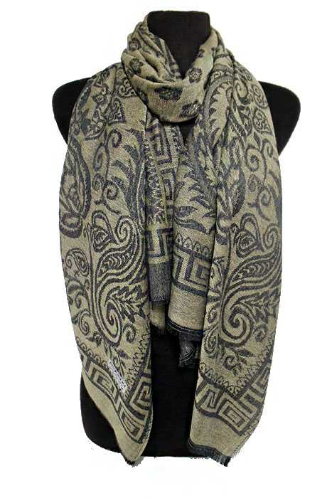 Greek Key Outline Paisley and Daisy Design Super Softness Silk Pashimina Shawls and Scarf