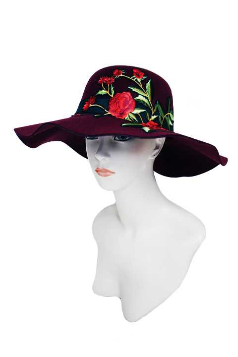 Soft Felt Deep Red Oversized Gardenia Floral Bouquet Fashion Floppy Hat