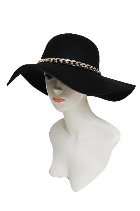 Plan Soft Felt with Gold chain and Fabric design soft Floppy Hat