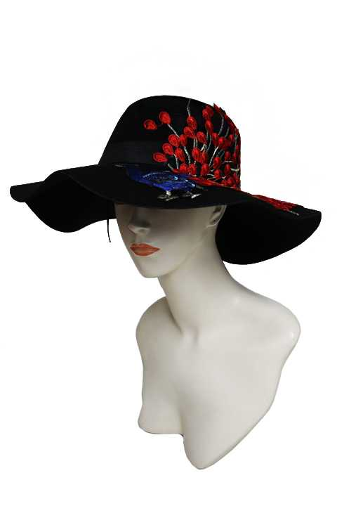 Soft Felt Floppy Sun Hat with Red Peacock Patch