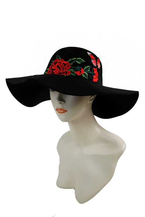 Soft Felt Sun Hat with Oversized Carnations & Butterfly Patch