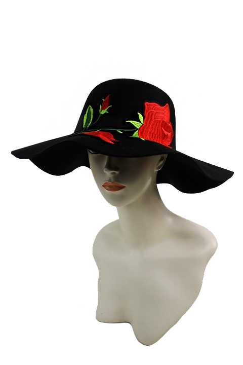 Soft Felt Floppy Sun Hat with Oversized Red Rose Patch