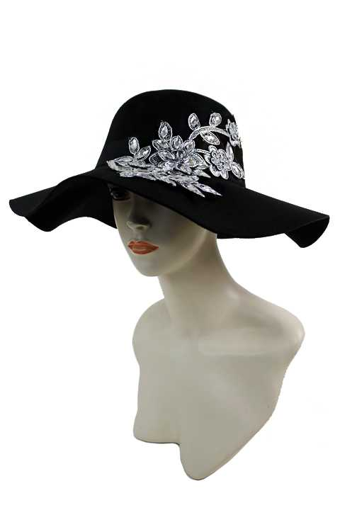 Soft Felt Floppy Sun Hat with Crystallized Branch & Leaves Rhinestone Patch