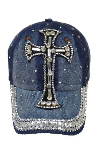CROSS Design with Glass and Rhinestone Denim Washing Cap