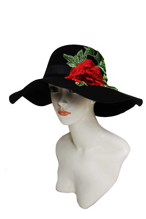 Soft Felt Floppy Sun Hat with Oversized Red Peony Patch on Black Band