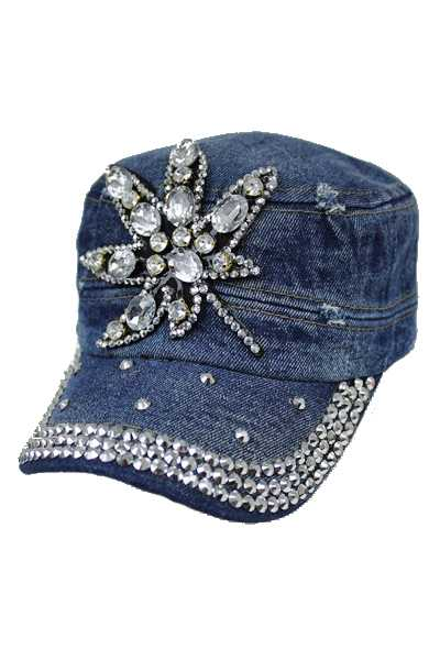 Marijuana Design Bling Bling Studs Military Style Hat