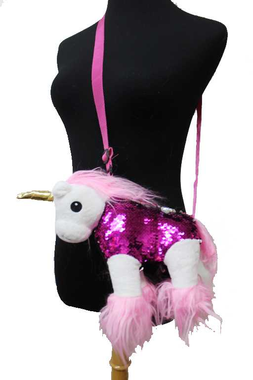 Unicorn With Sequin And Long Brushed Hair Cross Body Bag