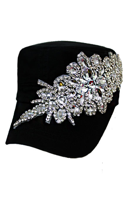 Floral Crystal and Rhinestone With Big Crystal Top Button Cotton Washing Cadet Cap