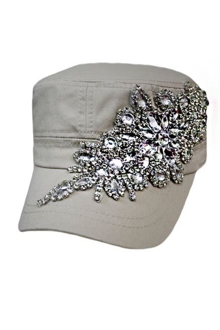 Floral Crystal and Rhinestone With Big Crystal Top Button Cotton Washing  Cadet Cap b122daad8f