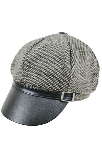 Plain Wool Crown with Leather Feel Visor Newsboy Style Cap