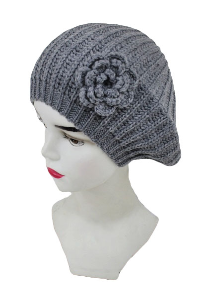 Flower Bow Stripe Knitted Beret Hat