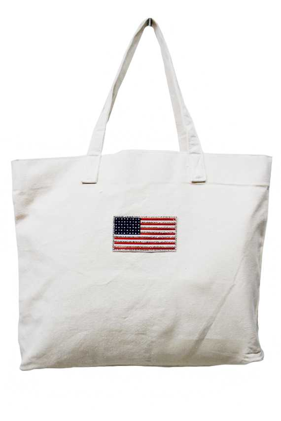 American Flag Patched Tapestry Tote Bag