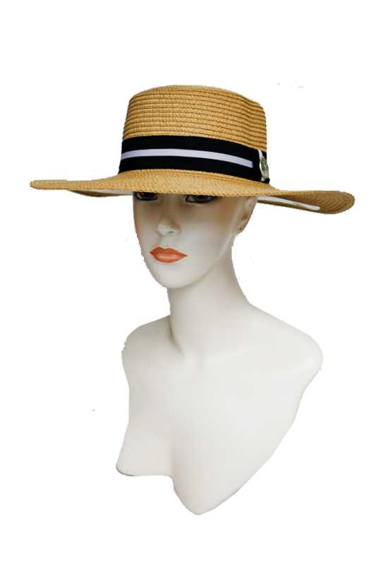Toyo Straw with Striped Metallic Gem Boater Hat