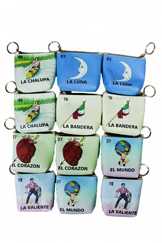 Spanish Word and Animated Drawings Printed Coin Bag with Ring