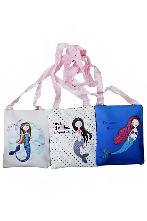Animated Mermaid Printed One Pocketed Rectangular Cross Body Bag