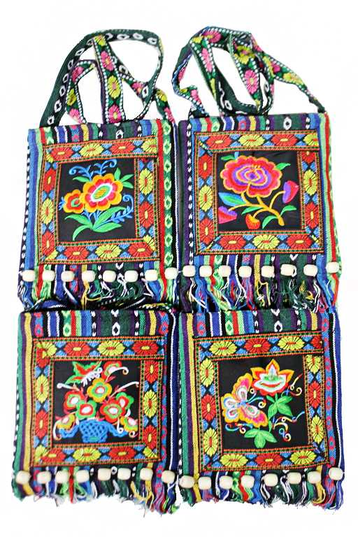 Distressed and Traditional Floral Embroidered Cultural Cross Body Bag