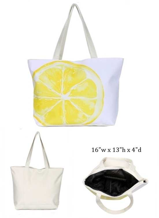Fruit Design with Inner Zipper Pocket Dimensions Canvas Rope Tote Bag