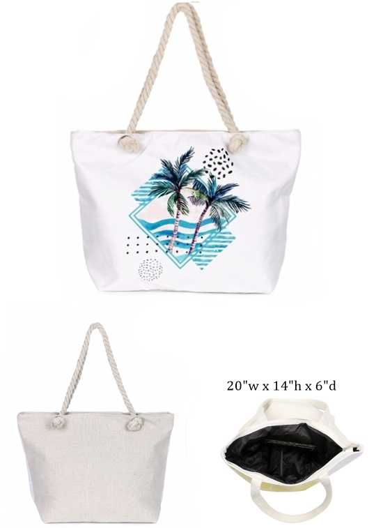 Pom Tree Beach Design with Inner Zipper Pocket Dimensions Canvas Rope Tote Bag