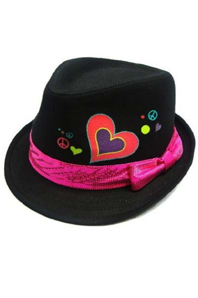 Cotton Heart Print with Shinny Bow Band Kid Fedoras