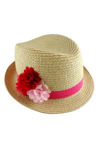 Flower Bow Straw Shinny Accent Kid Fedora