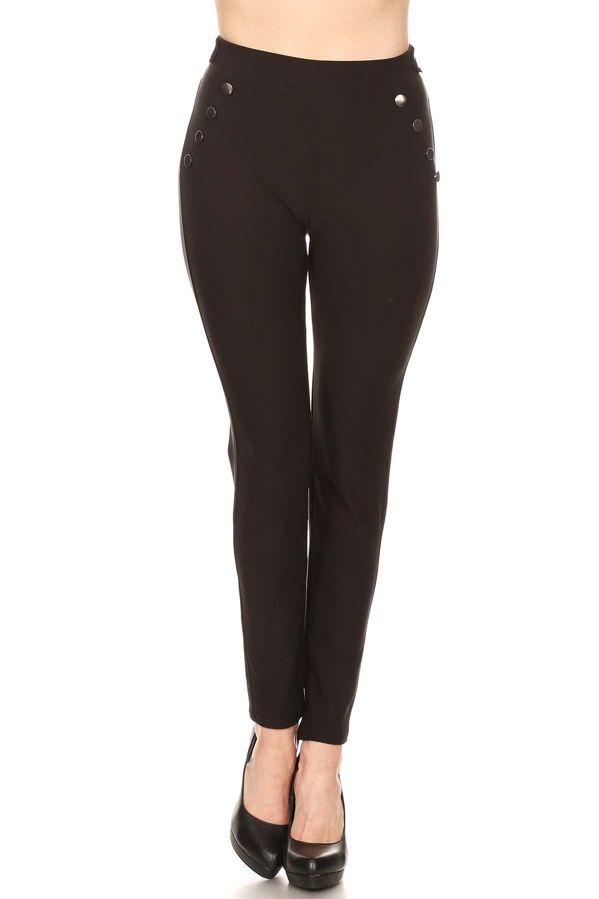 Mid Waist Gunmetal Colored Flat Buttons Detailed Pant Leggings