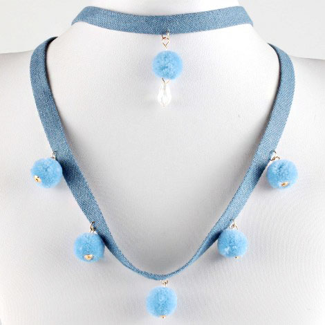 Denim Collar Lariat Layered With Short Trimmed Accents Choker Necklace