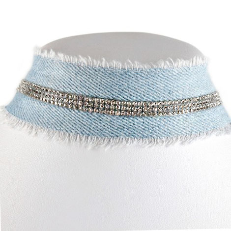 Distressed Basic Denim choker With Single Strips Of Fantasy rhinestone