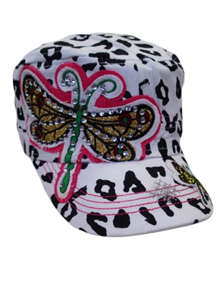 Dragon Fly on Cheetah Print Cadet Cap