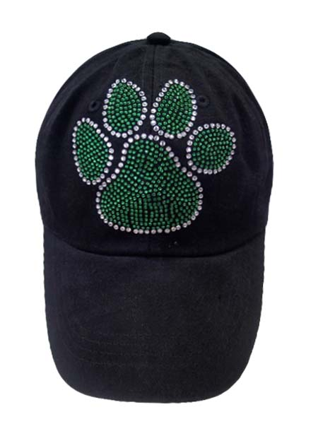Green Paw Print With clear on the border on Baseball cap