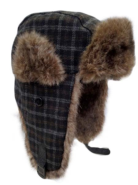 Plaid Trooper Hat with Furry