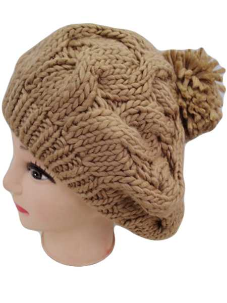 Cable Knit Beret with Pom pom