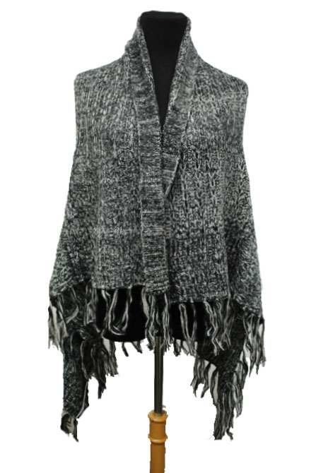 Soft Two Tone Cable Knit Cardigan Style Poncho with Fringes
