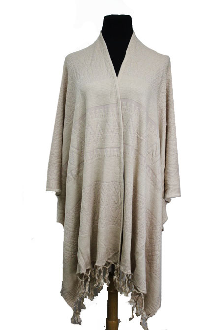 Tribal Pattern Embossed Spandex Feel Poncho with Tassel Fringes
