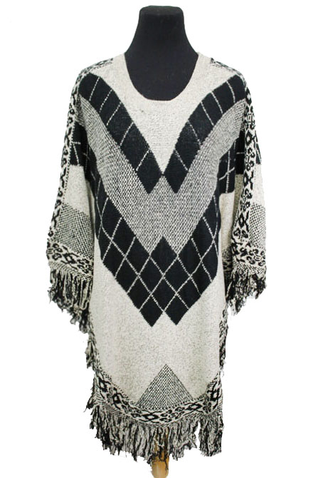 Geometrically Patterned Thick Knit Fringed Throw Over Poncho